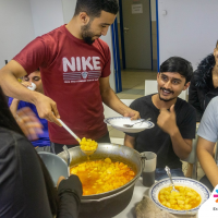 Students were enjoying their time and the amazing food.